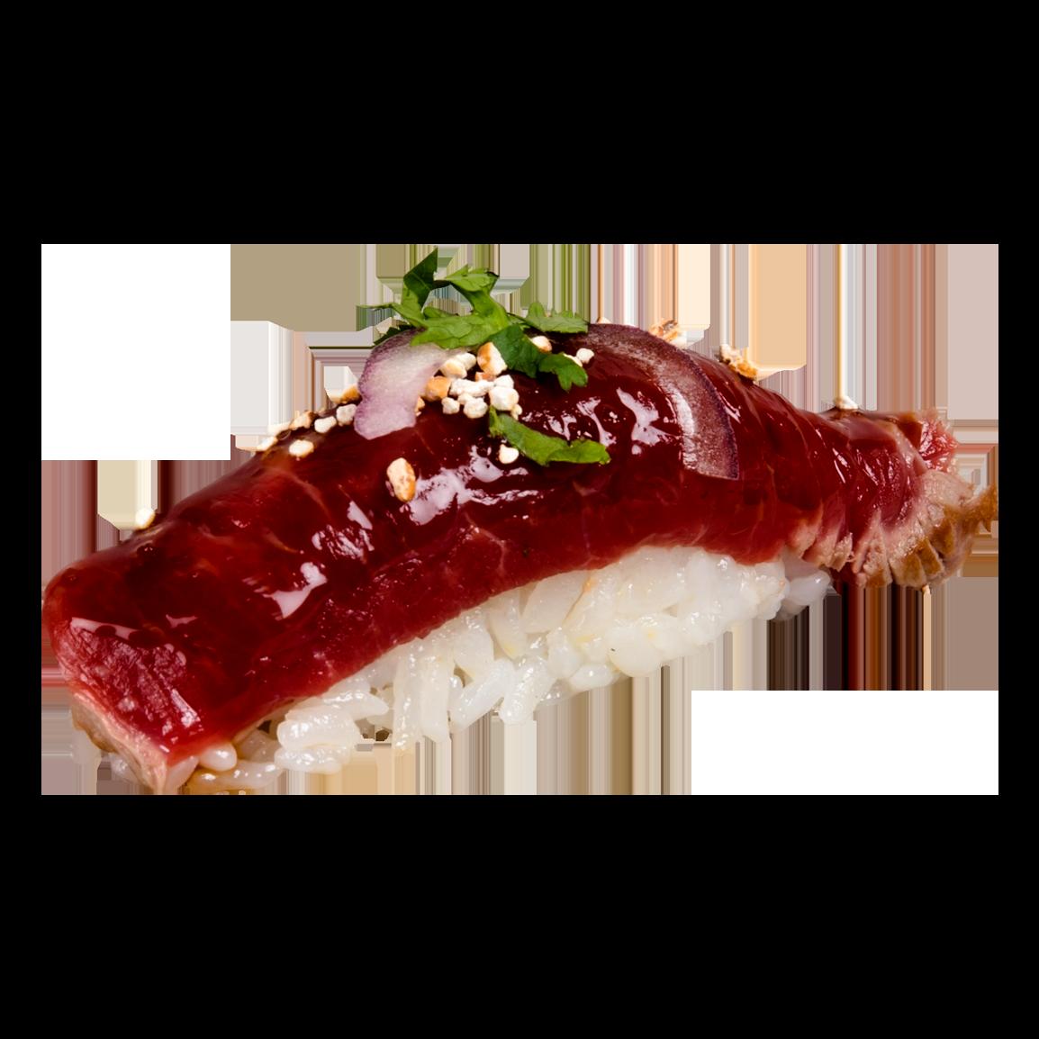 1 Pièce.<br />Bœufs snacké mariné à la sauce nikkei, sobacha, oignon rouge, coriandre.