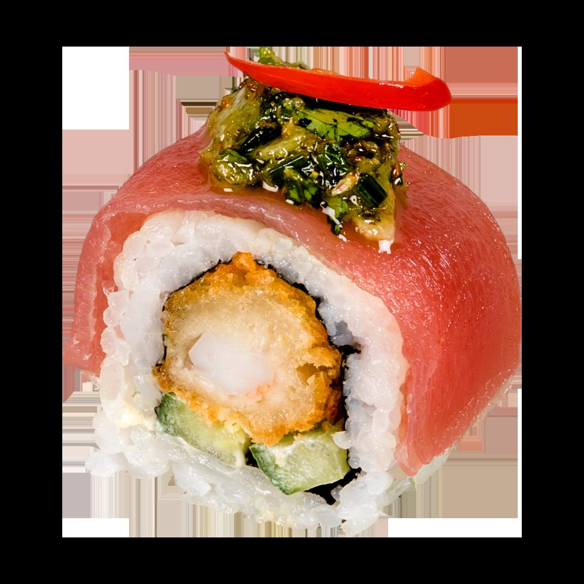 Au dessus : Thon tataki, poivron, salsa chimichuri.<br /> A l'intérieur : Crevette tempura, concombre, sauce légèrement épicée.