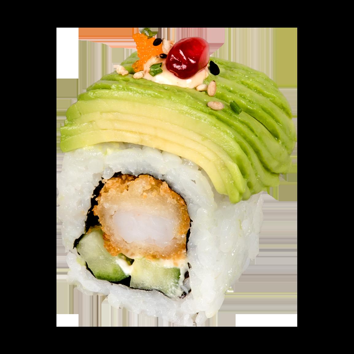 8 pièces.<br />Au dessus : Avocat, masago, ciboulette, mayonnaise teriyaki, sésame, grenade fraîche  à l'intérieur : Crevette tempura et concombre, mayonnaise japonaise.