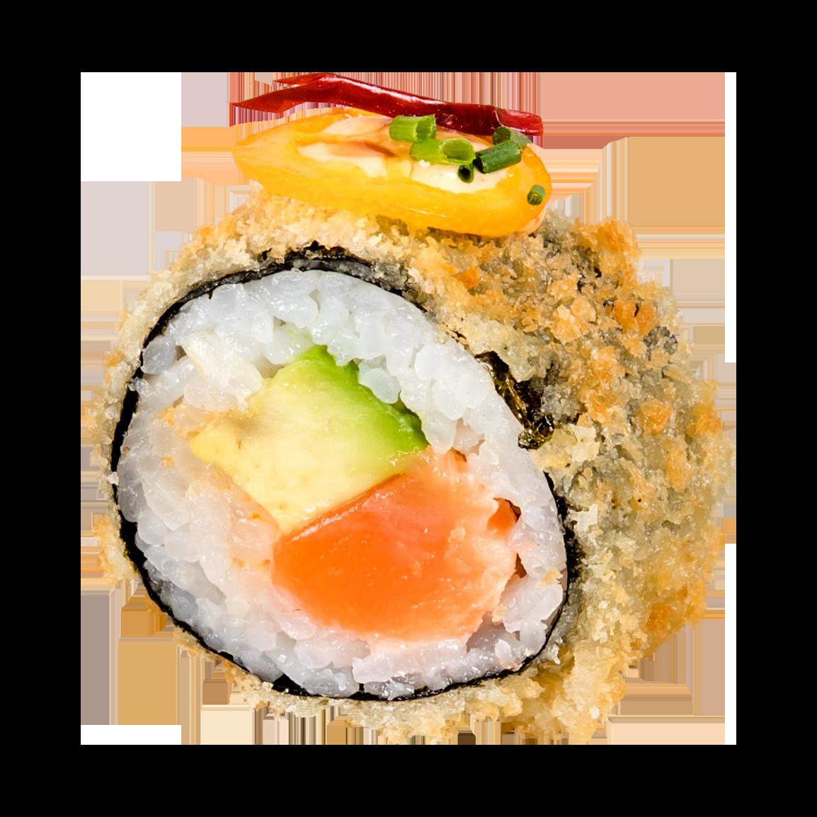 Au dessus : Frit en tempura , kumquat, piment, coriandre, masago<br /> à l'intérieur: Saumon, sauce nikkei, avocat