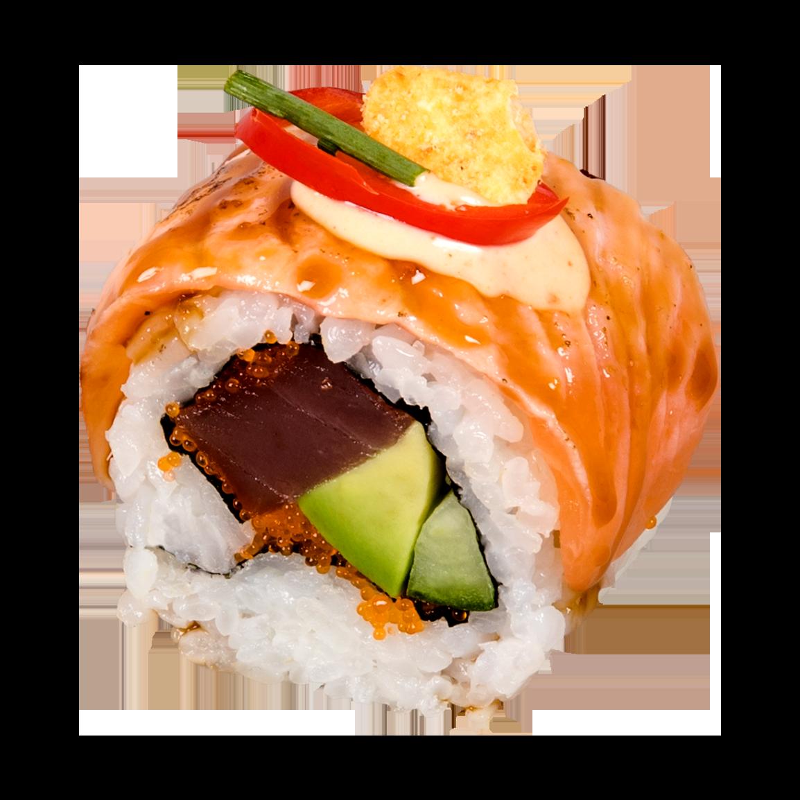 8 pièces.<br />Au dessus : Saumon snacké, sauce teriyaki, piment, nachos, ciboulette, sésames  A l'intérieur: Thon, avocat, concombre, masago et sauce épicée.