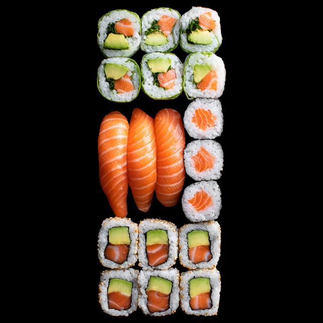 18 Pièces<br />6 Spring rolls saumon avocat 3 Sushi saumon 3 Maki saumon 6 California saumon avocat