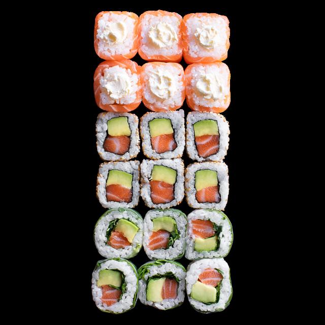 16 Pièces<br />6 Maki délice cheese 6 California saumon avocat 6 Spring rolls saumon avocat