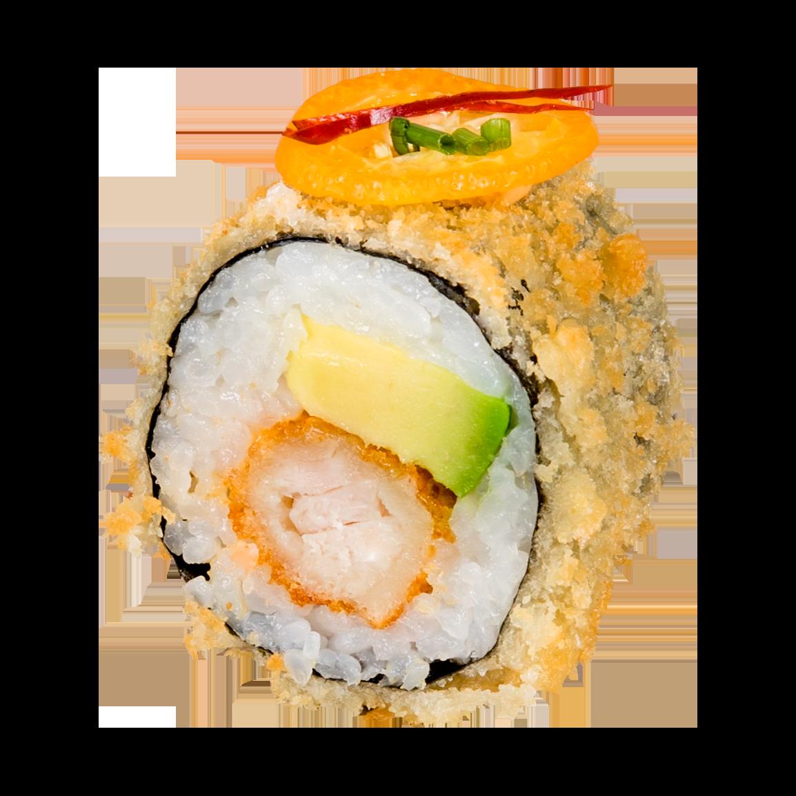 Au dessus: Frit en tempura, kumquat, piment, coriandre, masago<br /> à l'intérieur: Poulet tempura, avocat, sauce maison