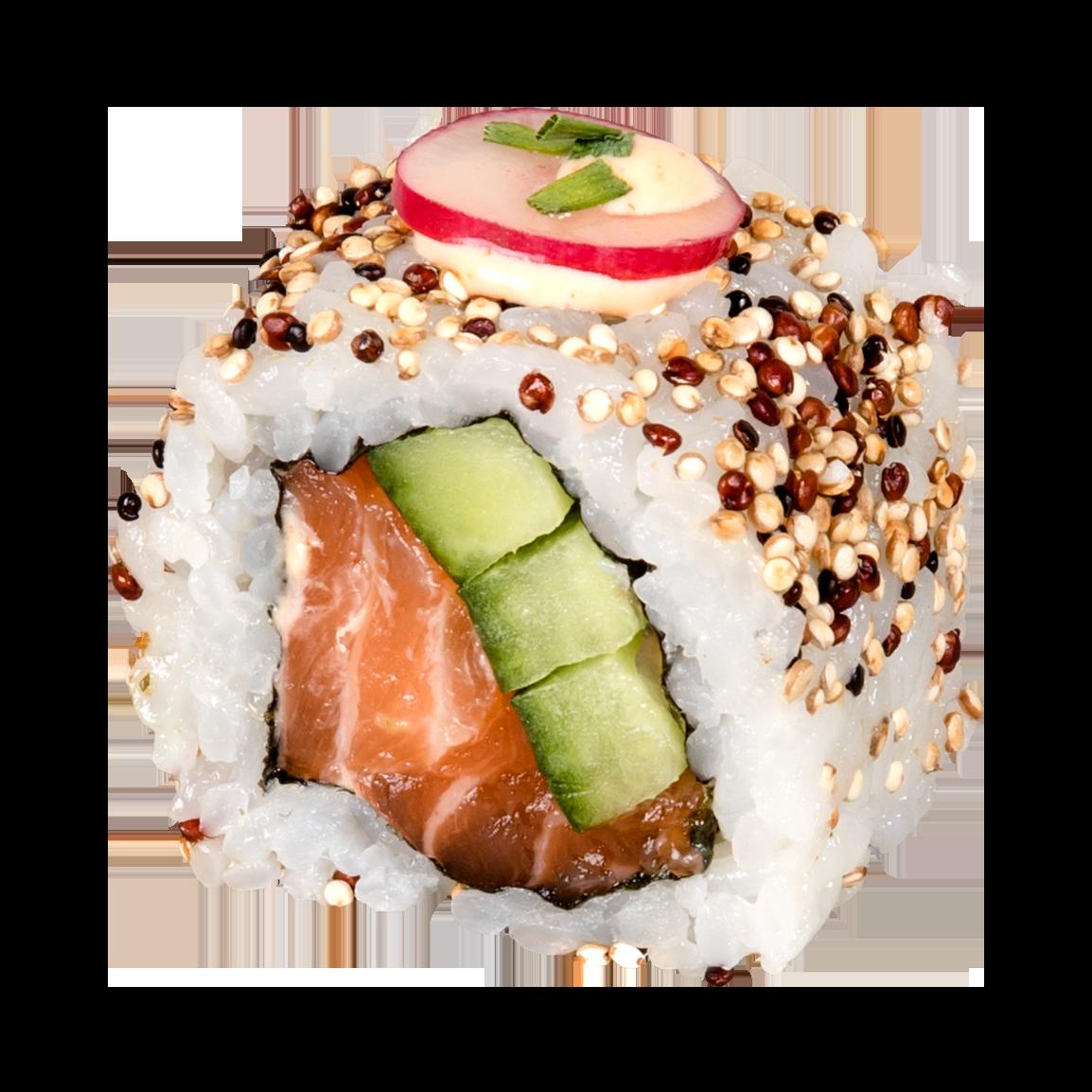 6 pièces.<br />Roulé dans le quinoa grillé, saumon label rouge, concombre, radis, sauce épicée, ciboulette.