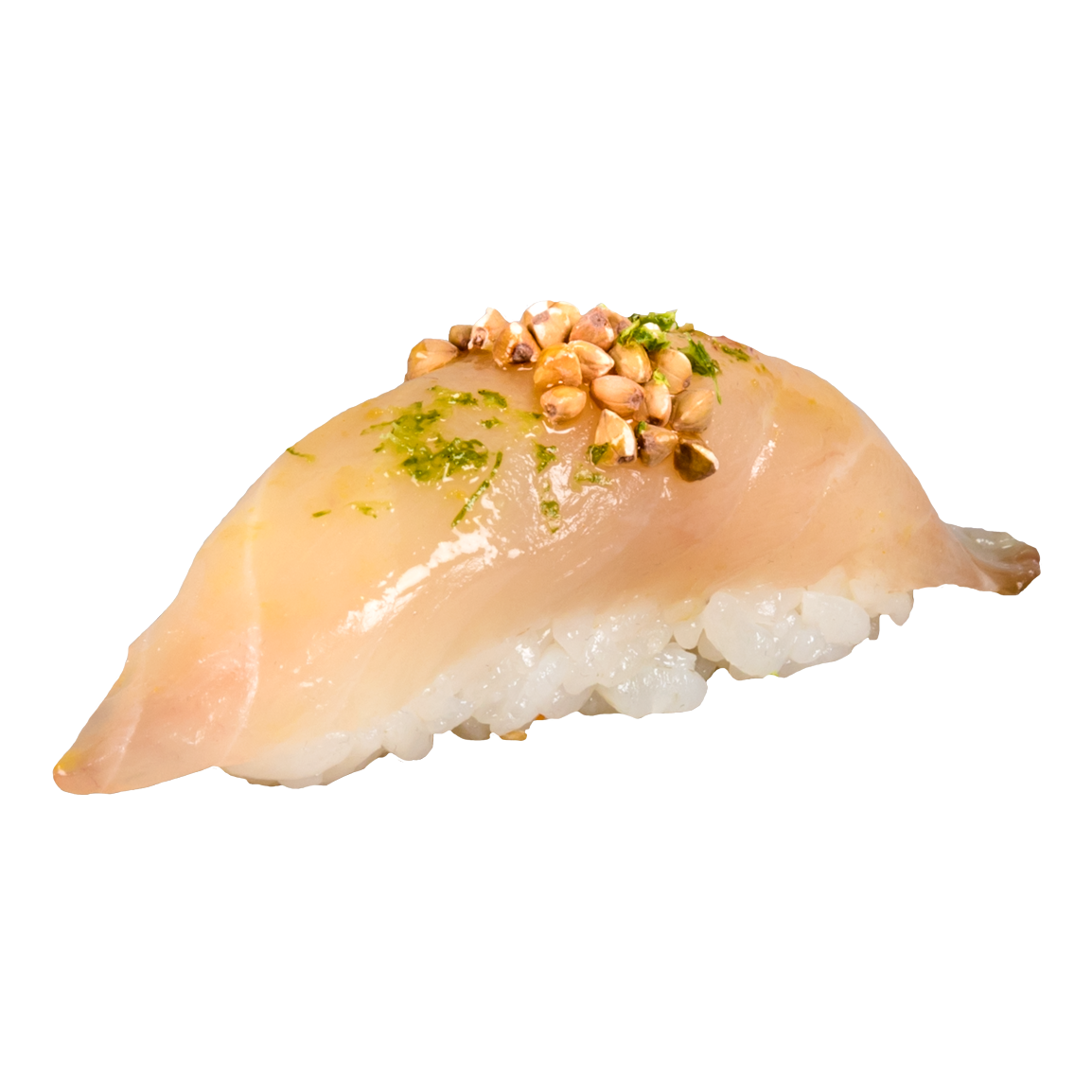 1 Pièce.<br />Dorade nappée de sauce mizo/yuzu, citron vert râpé, sarrasin grillé.
